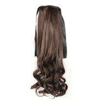 14 Inches Human Hair Bundled Fluffy Long Wavy Ponytail Deep Chestnut Brown 1 Piece