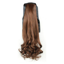 14 Inches Human Hair Bundled Fluffy Long Wavy Ponytail Flax Yellow 1 Piece