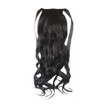22 Inches Human Hair Bundled Long Wavy Ponytail Black 1 Piece