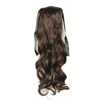 14 Inches Human Hair Bundled Long Wavy Ponytail Deep Chectnut Brown 1 Piece