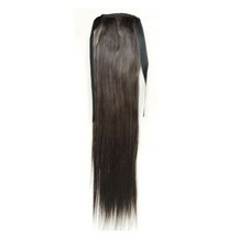 16 Inches Human Hair Bundled Long Straight Ponytail Black 1 Piece