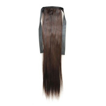 16 Inches Human Hair Bundled Long Straight Ponytail Chestnut Brown