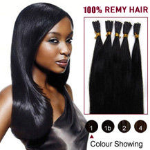 "30"" Jet Black (#1) 100S Stick Tip Human Hair Extensions"