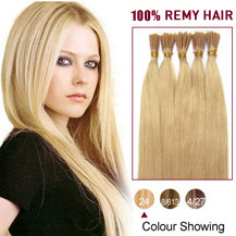"22"" Ash Blonde (#24) 50S Stick Tip Human Hair Extensions"