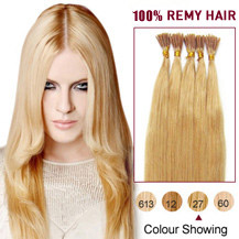 16 inches Strawberry Blonde (#27) 100S Stick Tip Human Hair Extensions