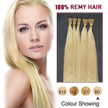 "26"" White Blonde (#60) 50S Stick Tip Human Hair Extensions"