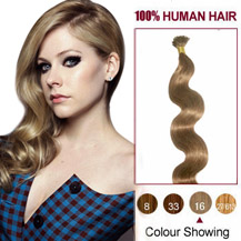 16 inches Golden Blonde (#16) 50S Wavy Stick Tip Human Hair Extensions