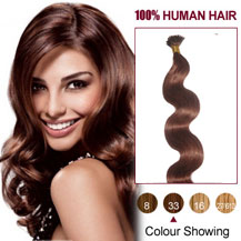 16 inches Dark Auburn (#33) 50S Wavy Stick Tip Human Hair Extensions