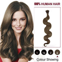 16 inches Light Brown (#6) 50S Wavy Stick Tip Human Hair Extensions