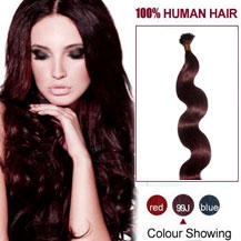 16 inches 99J 50S Wavy Stick Tip Human Hair Extensions