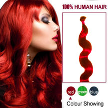16 inches Red 50S Wavy Stick Tip Human Hair Extensions