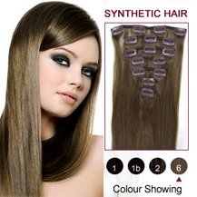 22 inches Light Brown (#6) 7pcs Clip In Synthetic Hair Extensions