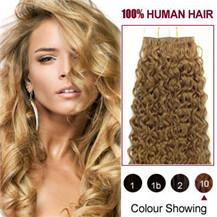 16 inches Light Brown (#10) 20pcs Curly Tape In Human Hair Extensions