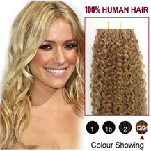 16 inches Golden Ash Blonde (#12 / 24) 20pcs Curly Tape In Human Hair Extensions