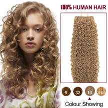 16 inches Golden Blonde #16 20pcs Curly Tape In Human Hair Extensions