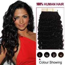 20 inches Jet Black (#1) 20pcs Curly Tape In Human Hair Extensions