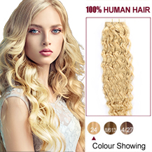 20 inches Ash Blonde (#24) 20pcs Curly Tape In Human Hair Extensions