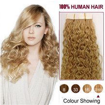 16 inches Blonde Highlight (#27 / 613) 20pcs Curly Tape In Human Hair Extensions