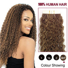 16 inches (#4-27) 20pcs Curly Tape In Human Hair Extensions