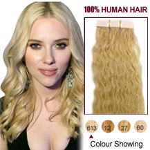 20 inches Bleach Blonde (#613) 20pcs Curly Tape In Human Hair Extensions