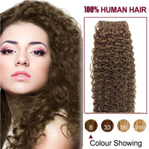 16 inches Ash Brown (#8) 20pcs Curly Tape In Human Hair Extensions