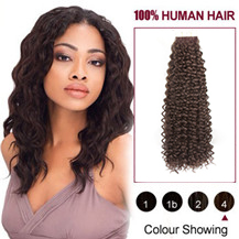 22 inches #4 Medium Brown 20PCS Kinky Curly Tape in Human Hair Extensions