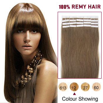 16 inches Golden Brown (#12) 20pcs Tape In Human Hair Extensions