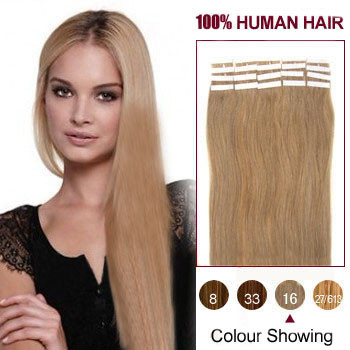 18 inches Golden Blonde (#16) 20pcs Tape In Human Hair Extensions