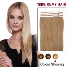 20 inches Brown Blonde (#16) 20pcs Tape In Human Hair Extensions