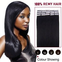 18 inches Jet Black (#1) 20pcs Tape In Human Hair Extensions