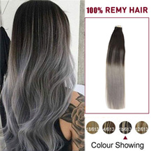 16 inches Ombre (#1B/Grey) Tape In Human Hair Extensions