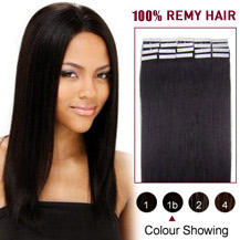 "22"" Natural Black (#1b) 20pcs Tape In Human Hair Extensions"