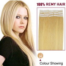 "18"" Ash Blonde (#24) 20pcs Tape In Human Hair Extensions"
