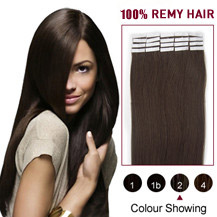 "22"" Dark Brown (#2) 20pcs Tape In Human Hair Extensions"