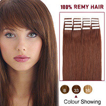 16 inches Dark Auburn(#33) 20pcs Tape In Human Hair Extensions