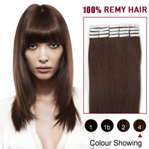 20 inches Medium Brown (#4) 20pcs Tape In Human Hair Extensions
