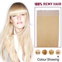 20 inches White Blonde (#60) 20pcs Tape In Human Hair Extensions