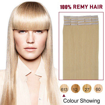 16 inches Bleach Blonde (#613) 20pcs Tape In Human Hair Extensions