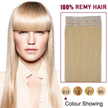 "20"" Bleach Blonde (#613) 20pcs Tape In Human Hair Extensions"