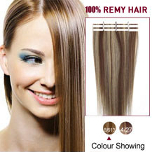 20 inches Brown Blonde (#8/613) 20pcs Tape In Human Hair Extensions