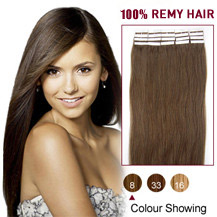 24 inches Ash Brown (#8) 20pcs Tape In Human Hair Extensions