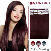 18 inches 99J 20pcs Tape In Human Hair Extensions