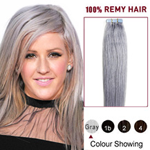 16 inches Gray Tape in Human Hair Extensions