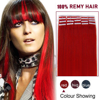 30 inches Red 20pcs Tape In Human Hair Extensions