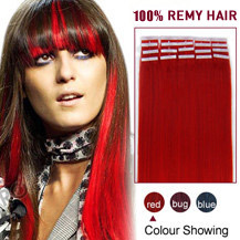 20 inches Red 20pcs Tape In Human Hair Extensions
