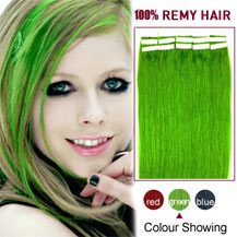 16 inches Green 20pcs Tape In Human Hair Extensions