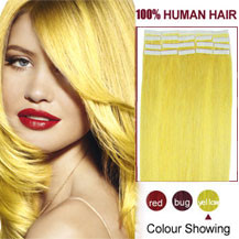 16 inches Yellow 20pcs Tape In Human Hair Extensions