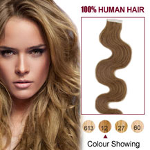 26 inches Golden Brown (#12) 20pcs Wavy Tape In Human Hair Extensions