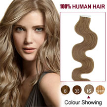 24 inches Golden Blonde (#16) 20pcs Wavy Tape In Human Hair Extensions