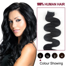 28 inches Jet Black (#1) 20pcs Wavy Tape In Human Hair Extensions